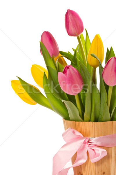 Hermosa ramo tulipanes blanco flores primavera Foto stock © Peredniankina