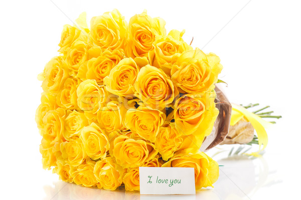 Jaune roses bouquet déclaration amour blanche Photo stock © Peredniankina