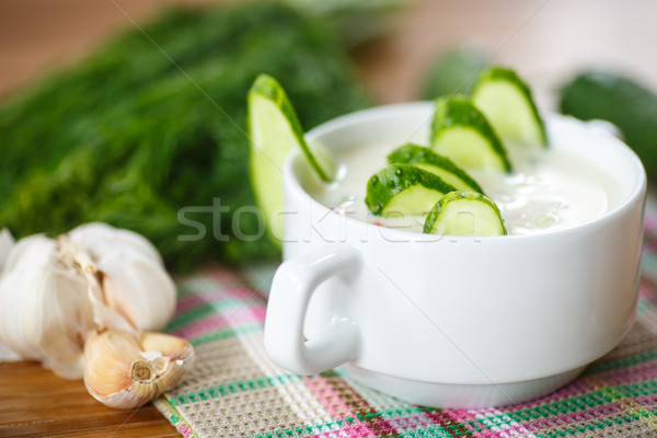 Stock fotó: Uborka · leves · hideg · tányér · fa · asztal · nyár