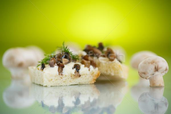 Stok fotoğraf: Sandviç · mantar · peynir · yeşil · arka · plan · ekmek