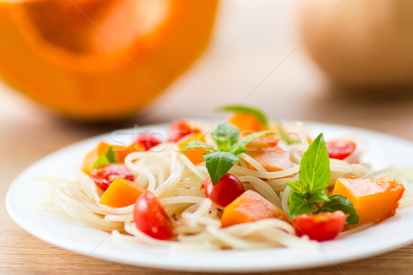 spaghetti with pumpkin Stock photo © Peredniankina