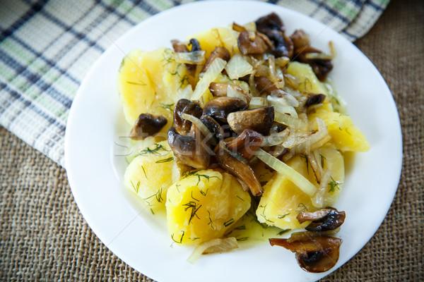 Patates mantar plaka gıda Stok fotoğraf © Peredniankina