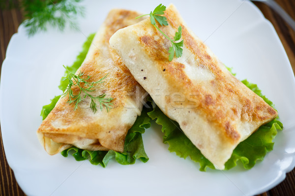 fried stuffed spring rolls on a plate Stock photo © Peredniankina