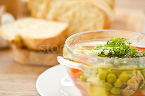 Groentesoep groene erwten kruiden voedsel gezondheid Stockfoto © Peredniankina