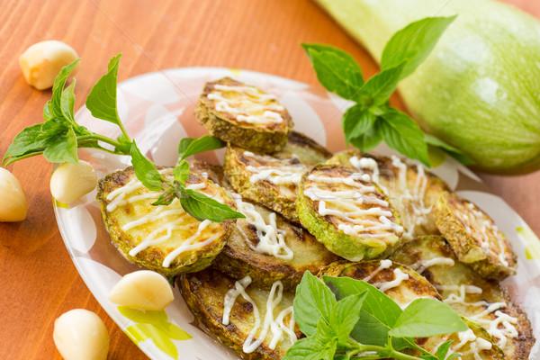 fried zucchini with garlic mayonnaise Stock photo © Peredniankina