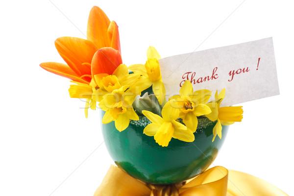 нарциссов букет желтый тюльпаны зеленый ваза Сток-фото © Peredniankina