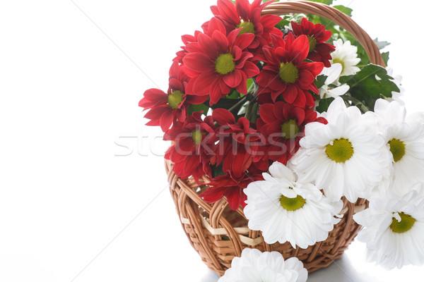 Rojo blanco cesta flores belleza verano Foto stock © Peredniankina