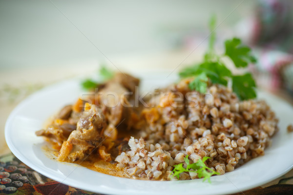 buckwheat cooked with stewed chicken gizzards Stock photo © Peredniankina