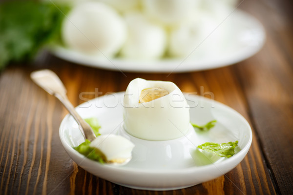 boiled egg on a plate Stock photo © Peredniankina