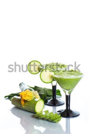 スカッシュ ガラス 白 食品 背景 緑 ストックフォト © Peredniankina