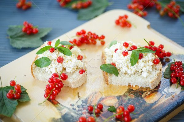 sandwich with cheese and red currants Stock photo © Peredniankina