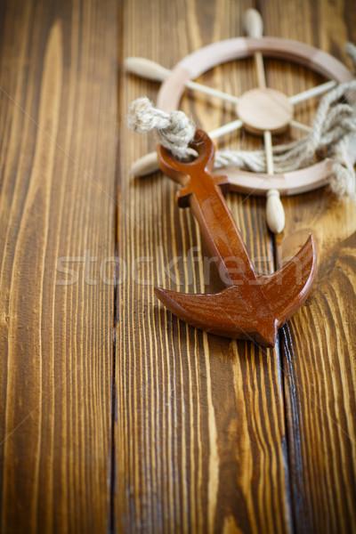 Dekoracyjny kierownica starych drewniany stół drewna Zdjęcia stock © Peredniankina