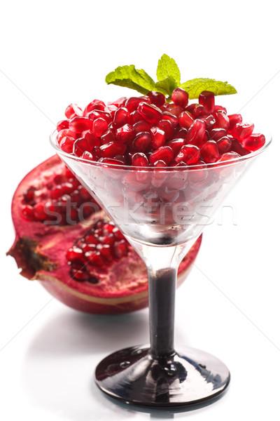 Gránátalma érett piros fehér természet gyümölcs Stock fotó © Peredniankina