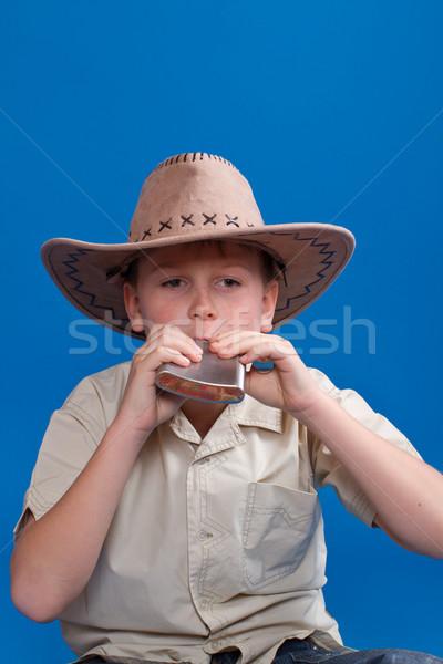 Ritratto ragazzo cappello da cowboy blu moda sfondo Foto d'archivio © Peredniankina