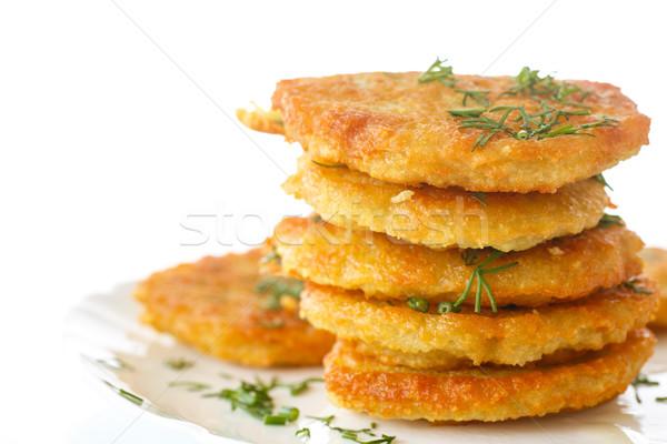 Krumpli palacsinták sült háttér tányér főzés Stock fotó © Peredniankina