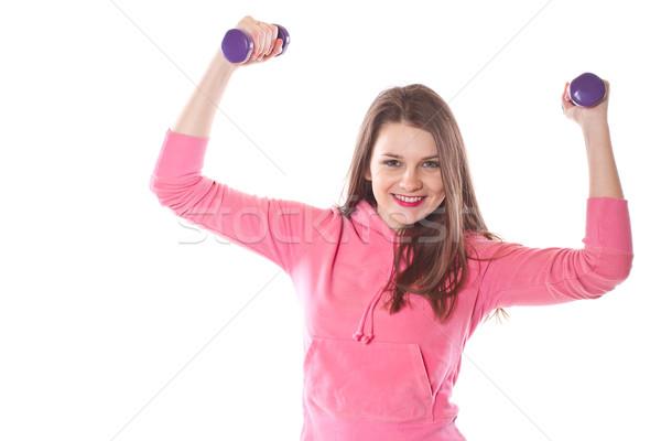 Meisje witte man gelukkig student Stockfoto © Peredniankina