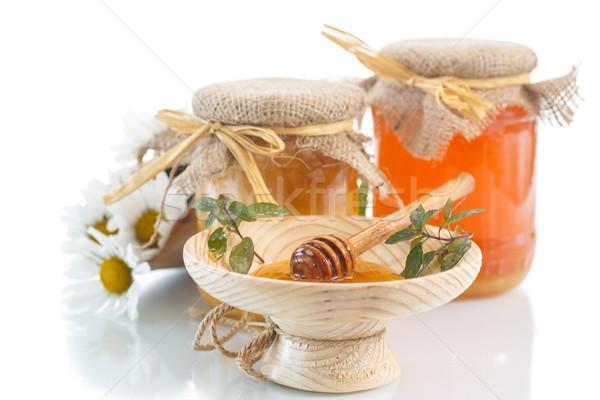 Honing vitamine vers glas jar witte Stockfoto © Peredniankina