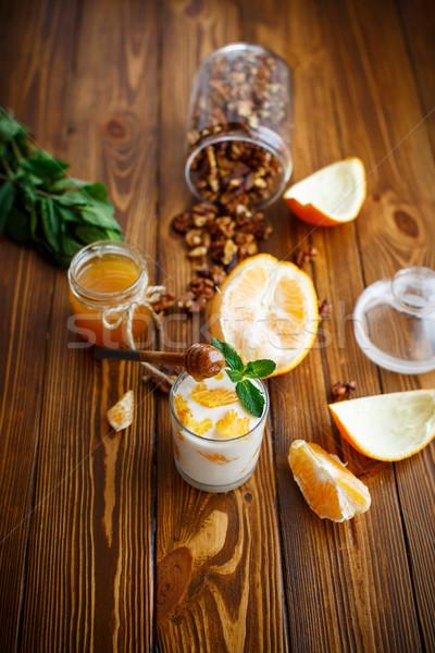 Grieks yoghurt honing sinaasappelen glas voedsel Stockfoto © Peredniankina