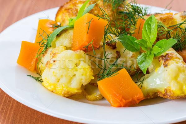 Frito couve-flor abóbora comida outono café da manhã Foto stock © Peredniankina