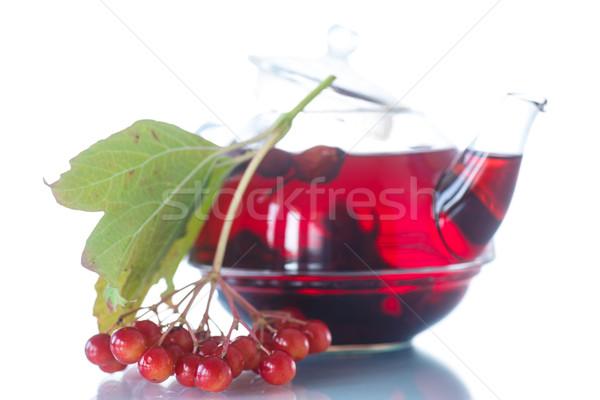 ストックフォト: 茶 · ガラス · ティーポット · 白 · 食品 · バラ
