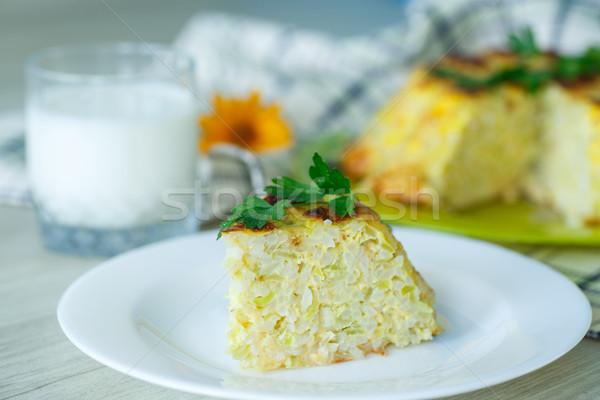 Stok fotoğraf: Pirinç · kabak · peynir · gıda · arka · plan · tablo