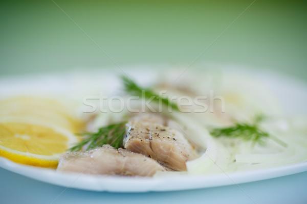 Darabok sózott hagymák fűszer étel hal Stock fotó © Peredniankina