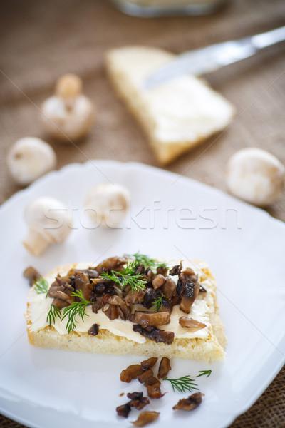 Sandwich funghi formaggio piatto sfondo pane Foto d'archivio © Peredniankina