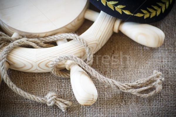 Hout stuur touw tabel ontwerp ruimte Stockfoto © Peredniankina