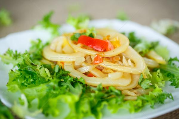 warm salad with fried calamari Stock photo © Peredniankina