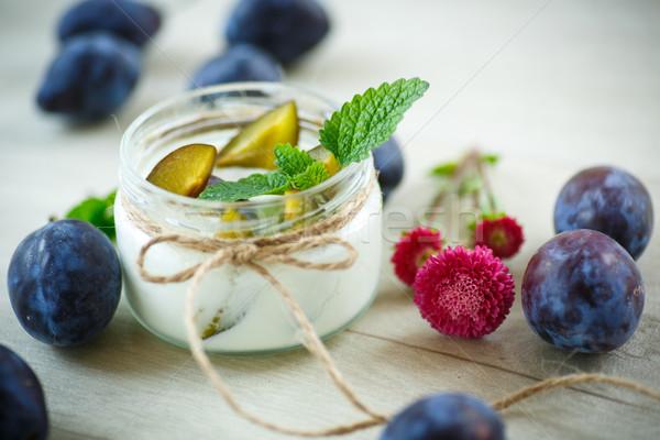 sweet milk yogurt with fresh plums Stock photo © Peredniankina