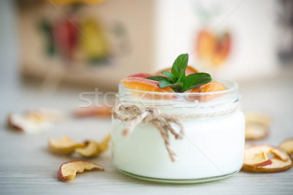 Domu słodkie jogurt suszy owoców gotowany Zdjęcia stock © Peredniankina