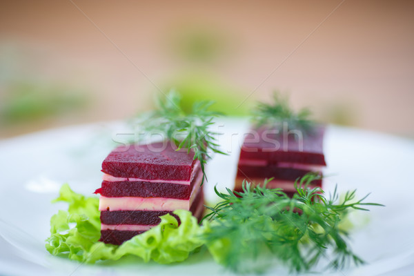 appetizer of beet and cheese on lettuce leaves  Stock photo © Peredniankina