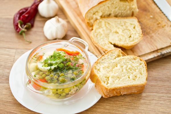Zupa jarzynowa zielone groszek zioła żywności zdrowia Zdjęcia stock © Peredniankina