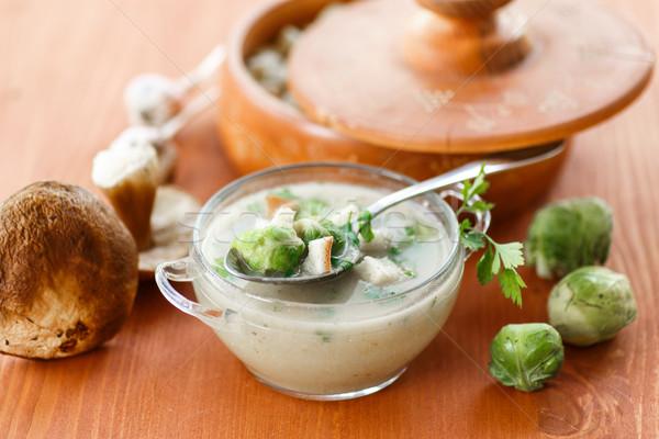 Gomba krém leves Brüsszel kenyér vacsora Stock fotó © Peredniankina