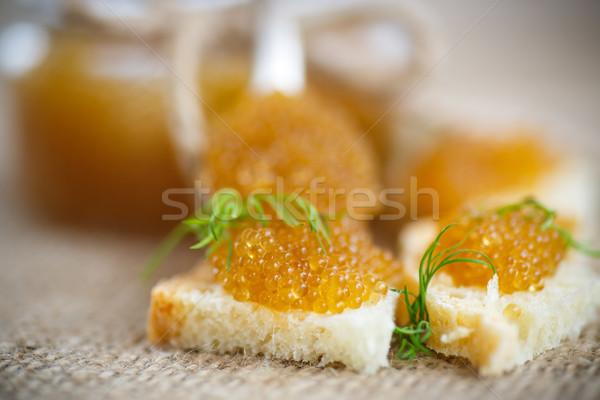 Brood gezouten kaviaar tabel voedsel vis Stockfoto © Peredniankina