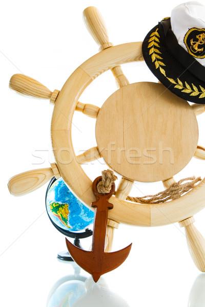 Decoratief houten stuur witte hout kaart Stockfoto © Peredniankina