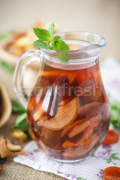 Aszalt gyümölcsök étel üveg háttér tél Stock fotó © Peredniankina