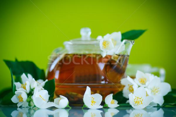 ストックフォト: 茶 · ティーポット · 支店 · 食品 · 背景 · 緑