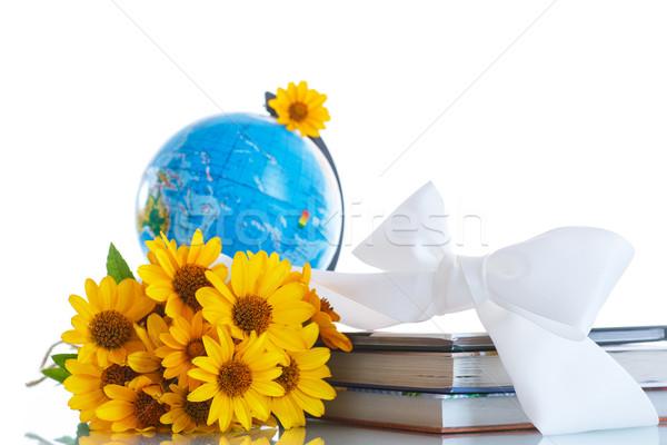 Földgömb könyvek virágok fehér virág könyv Stock fotó © Peredniankina