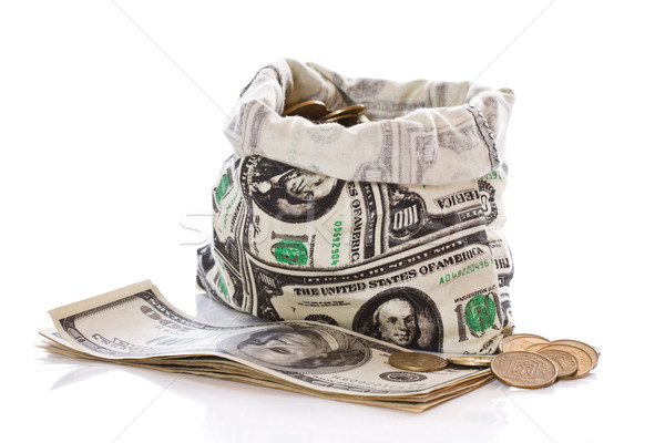 Dollars pièces argent sac blanche signe Photo stock © Peredniankina