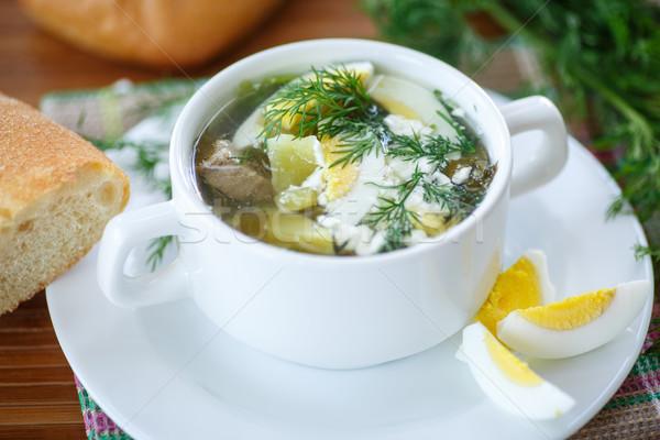 Sopa ovos tigela tabela cozinha verde Foto stock © Peredniankina
