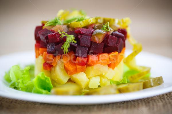 Sałatka gotowany warzyw burak żywności tle Zdjęcia stock © Peredniankina