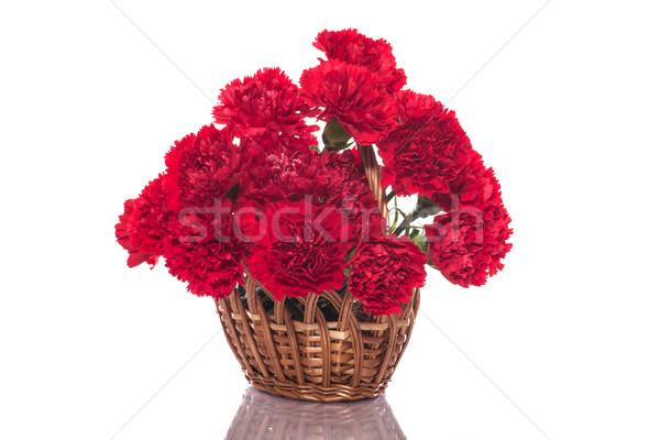 Rot Nelke Bouquet rote Rosen weiß Blume Stock foto © Peredniankina