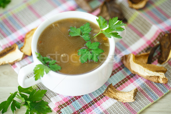 Foto stock: Setas · sopa · hortalizas · secado · setas · madera