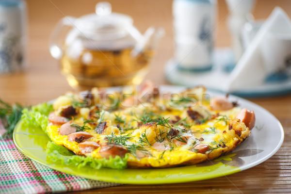ソーセージ カリフラワー 木製のテーブル 食品 卵 ストックフォト © Peredniankina
