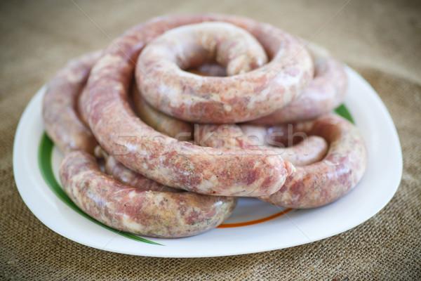 homemade sausage with raw meat  Stock photo © Peredniankina