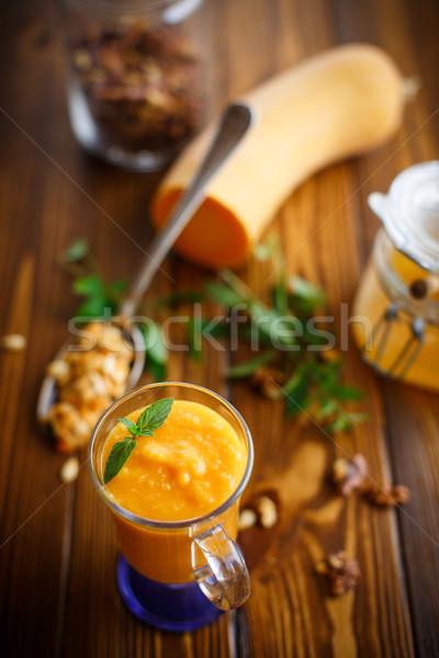 Sütőtök smoothie diók méz fa asztal étel Stock fotó © Peredniankina