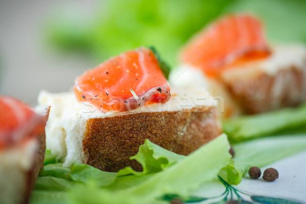 Kenyér sajt sózott lazac saláta étel Stock fotó © Peredniankina