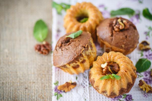sweet walnut muffins Stock photo © Peredniankina
