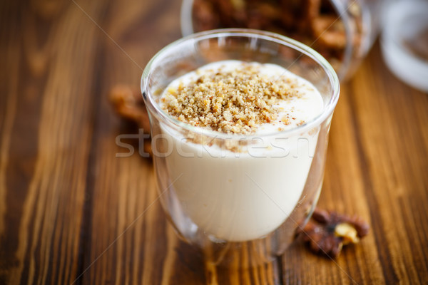 Natural fresh yogurt with nuts Stock photo © Peredniankina